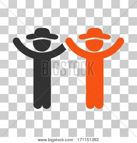 Hands Up Gentlemen icon. Vector illustration style is flat iconic bicolor symbol orange and gray colors transparent background. Designed for web and software interfaces.