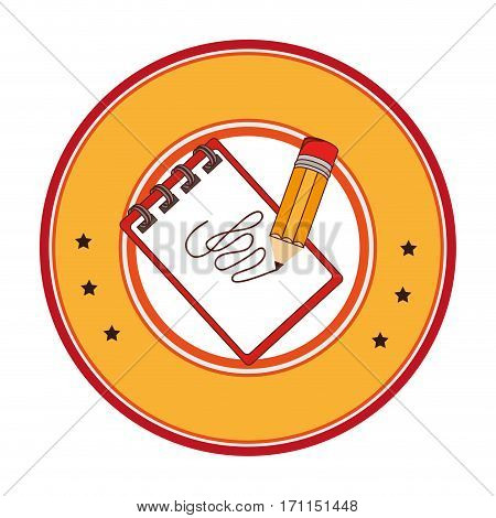 circular frame with notebook spiral and pencil vector illustration
