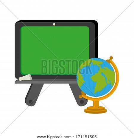 color silhouette with school slate and world map vector illustration