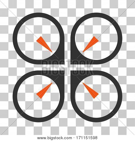 Hover Drone icon. Vector illustration style is flat iconic bicolor symbol orange and gray colors transparent background. Designed for web and software interfaces.