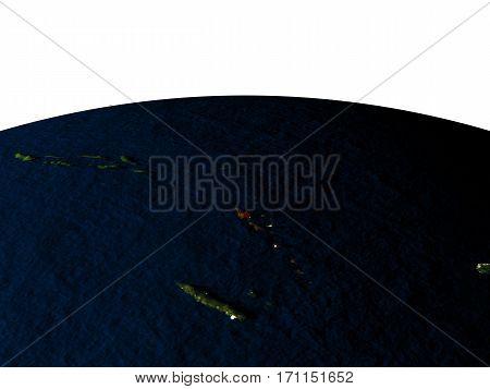 Vanuatu From Space At Night