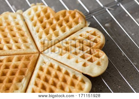 Freshly backed waffles in shape of heart resting on metal rack close up