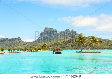 Boat shuttle station on Bora Bora, Tahiti, French Polynesia