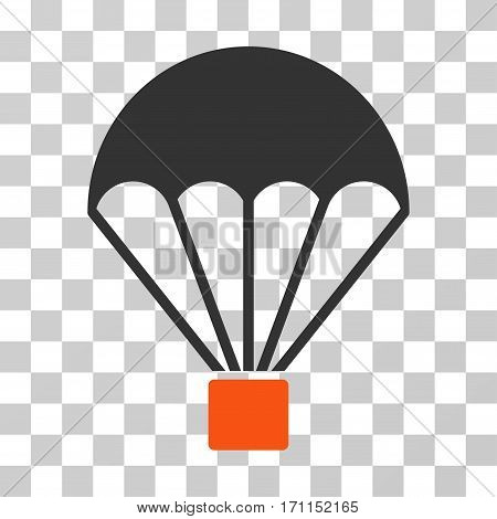 Parachute icon. Vector illustration style is flat iconic bicolor symbol orange and gray colors transparent background. Designed for web and software interfaces.