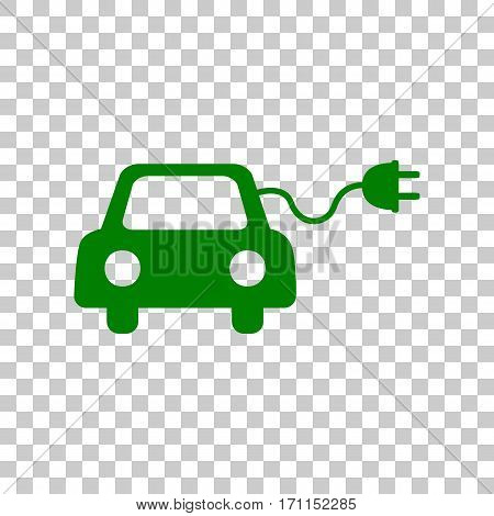 Eco electric car sign. Dark green icon on transparent background.