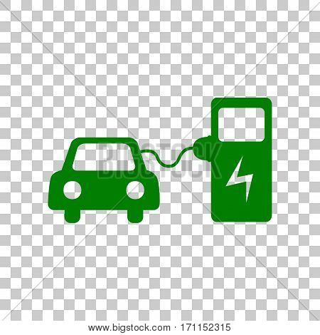 Electric car battery charging sign. Dark green icon on transparent background.
