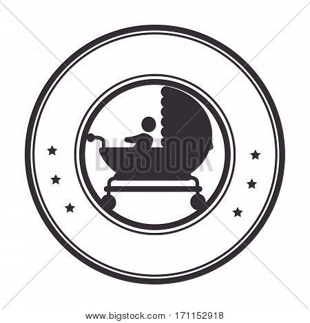 circular border with black silhouette baby carriage with layette and baby vector illustration