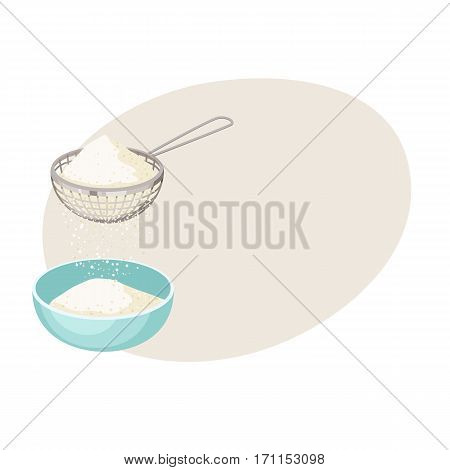 Flour sifter. Sieve on cup. Baking Ingredients. Healthy organic food. Cartoon vector. Kitchen utensils. Dough cooking.