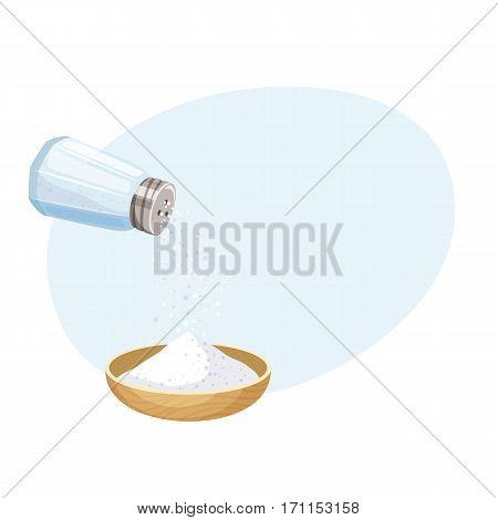 Do pour salt from salt shaker to bowl. Baking and cooking ingredient. Cartoon vector illustration food seasoning. Kitchen utensils