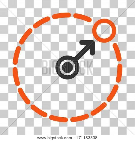 Round Area Border icon. Vector illustration style is flat iconic bicolor symbol orange and gray colors transparent background. Designed for web and software interfaces.