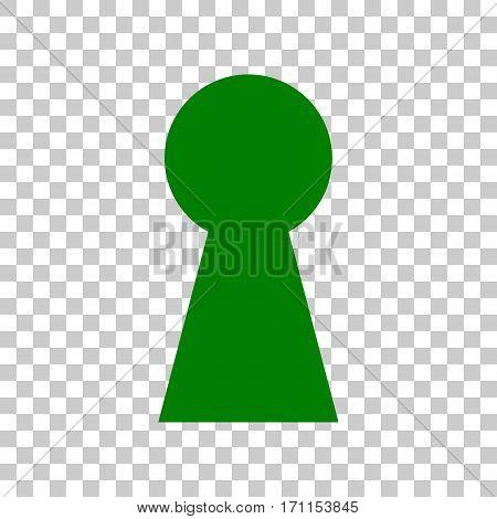 Keyhole sign illustration. Dark green icon on transparent background.