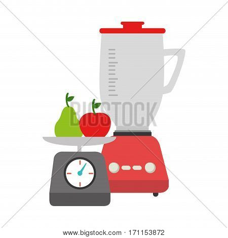 colorful blender with kitchen weight scale and fruits vector illustration