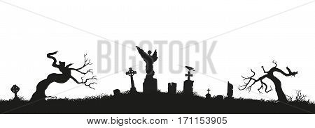 Black silhouettes of tombstones, crosses and gravestones. Elements of cemetery. Graveyard panorama. Vector illustration poster