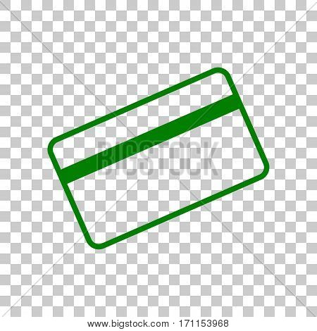 Credit card symbol for download. Dark green icon on transparent background.