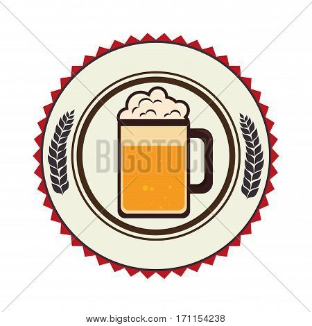 circular border with leaves and foamy beer glass vector illustration