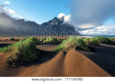 Famous grass hills near Stokksnes mountains, Iceland