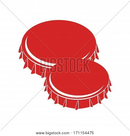 set collection colorful metal beer lid vector illustration
