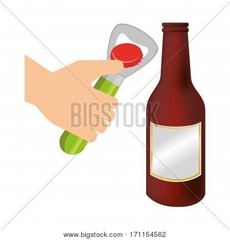 bottle opener utensil kitchen with beer bottle glass vector illustration
