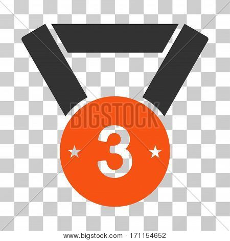Third Medal icon. Vector illustration style is flat iconic bicolor symbol orange and gray colors transparent background. Designed for web and software interfaces.