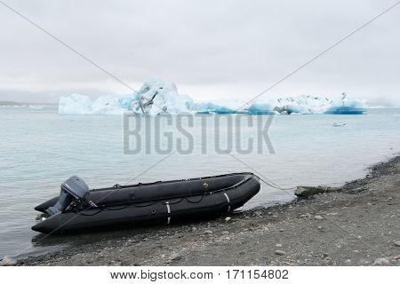 Icebergs in Jokulsarlon glacial lagoon. Vatnajokull National Park, southeast Iceland, Europe.