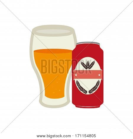 canned drink with glass cup of beer vector illustration