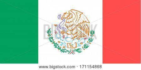 flag with the emblem of Mexico in a stylized linear style