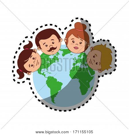 sticker colorful world with family faces vector illustration