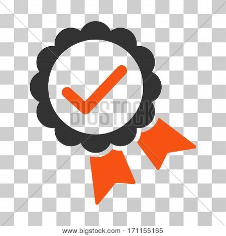 Validity Seal icon. Vector illustration style is flat iconic bicolor symbol orange and gray colors transparent background. Designed for web and software interfaces.