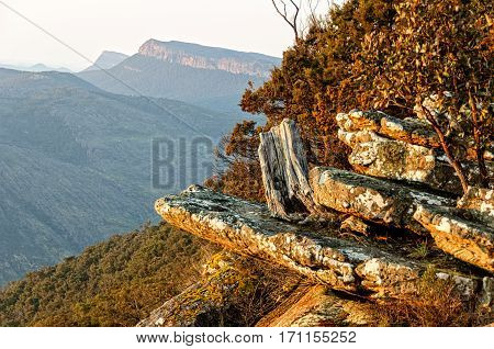 First rays of the sun from the Boroka Lookout of the Grampians Ranges in Victoria, Australia