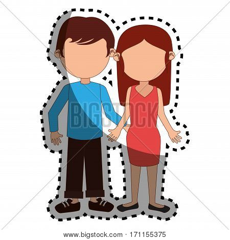 sticker colorful silhouette couple dressed party vector illustration