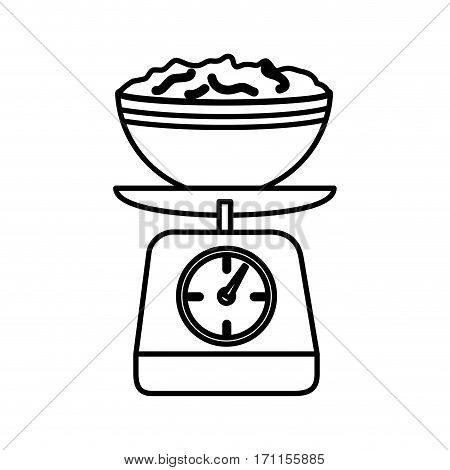 silhouette kitchen weight scale with bowl and mixture vector illustration