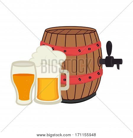 colorful set collection foamy beer glass with barrel and glass cup vector illustration