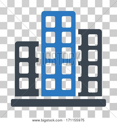 City icon. Vector illustration style is flat iconic bicolor symbol smooth blue colors transparent background. Designed for web and software interfaces.