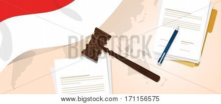 Indonesia law constitution legal judgement justice legislation trial concept using flag gavel paper and pen vector