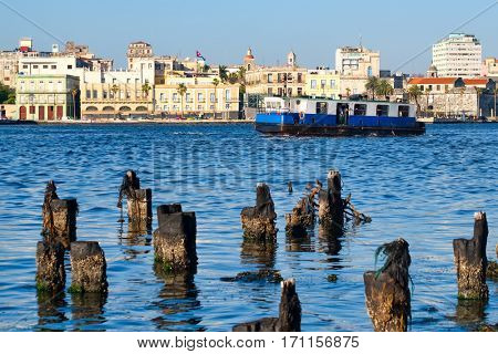 The Bay of Havana with a view of seaside colonial buildings in Old Havana