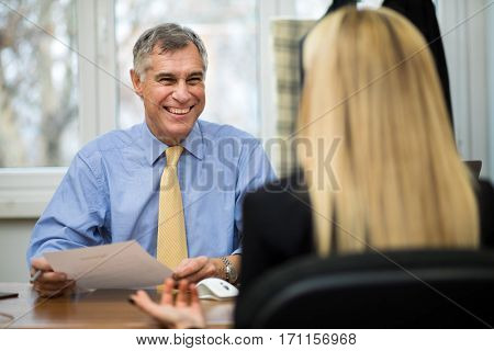 Young woman during job interview