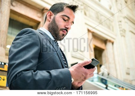 Man checking his mobile phone