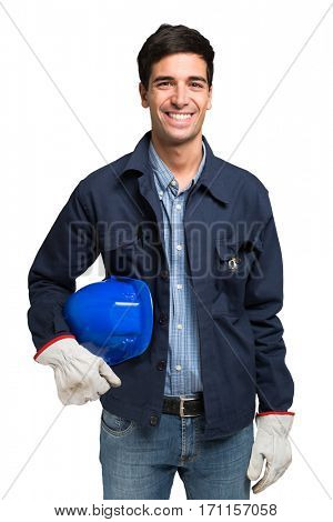 Smiling worker portrait, isolated on white