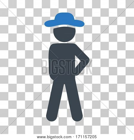 Gentleman Audacity icon. Vector illustration style is flat iconic bicolor symbol smooth blue colors transparent background. Designed for web and software interfaces.