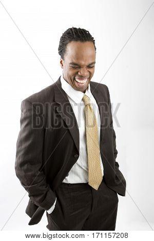 Stylish elegant dreadlocks businessman isolated on white.