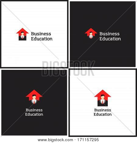 Vector eps logotype or illustration showing business education with business man and arrow up