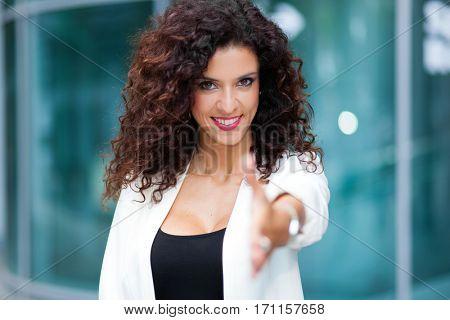 Woman giving an handshake