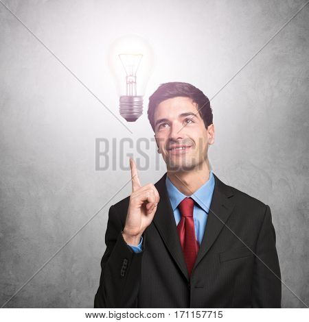Happy business man having an idea