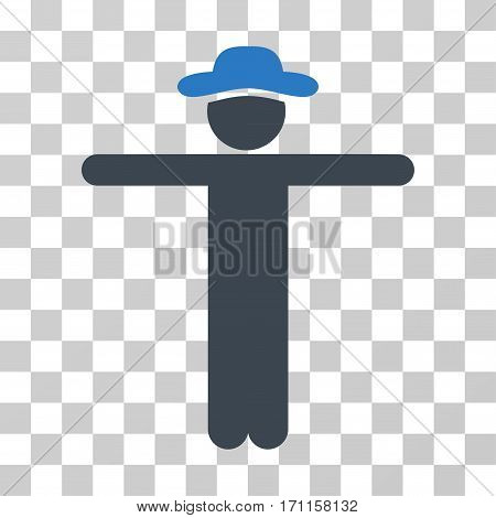 Gentleman Scarescrow icon. Vector illustration style is flat iconic bicolor symbol smooth blue colors transparent background. Designed for web and software interfaces.