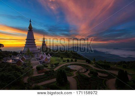 Landmark twin pagoda in doi Inthanon national park at Chiang mai Thailand.