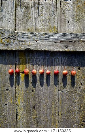 crab-apples fruits on old used wooden background