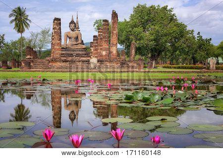 Buddha Statue at Wat Mahathat in Sukhothai Historical ParkThailand