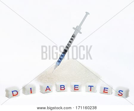 Treatment of diabetes. Conceptual poster prevention of diabetes in the form of a syringe and a pile of sugar
