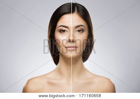 Comparison portrait of a model without and with professional contour and highlight face makeup. Divided face. Beauty portrait, head and shoulders, full face. Indoor, studio