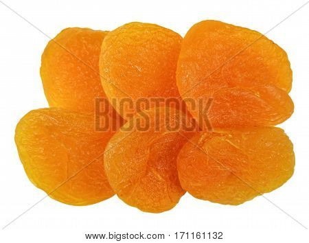 Dried apricots isolated on white with Clipping Path